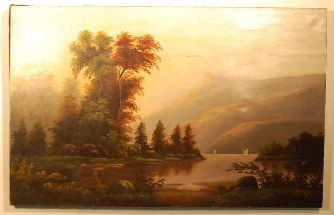 7: Oil on Canvas of Mountain / Lake Scene