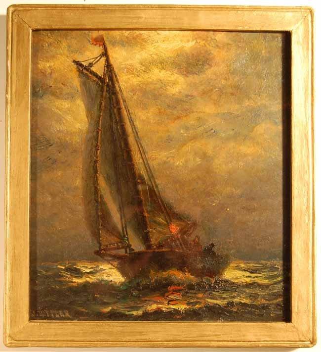 43: James  Gail Tyler Oil on Wooden Panel