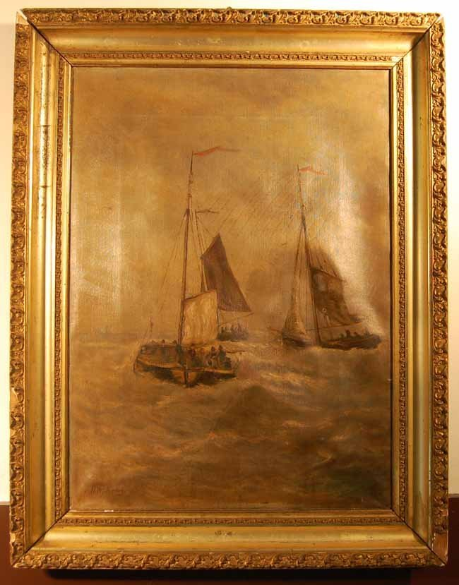 48: Oil on Canvas of Sailing Vessels