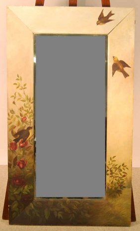 21: Beveled Mirror in a Hand Painted Frame