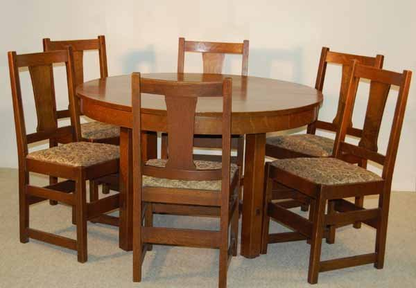 23: L & JG Stickley Dining Room Table and 6 Chairs