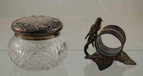 4: Silver Plated Figural Napkin Ring with Bird Sitting