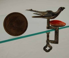 5: Sewing Bird with Pin Cushion and Small Wooden Butter