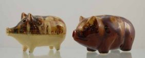 6: Two Yellowware Piggy Banks