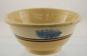 8: Yelloware mixing bowl with mocha blue seaweed