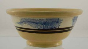 9: Yelloware mixing bowl with mocha blue seaweed