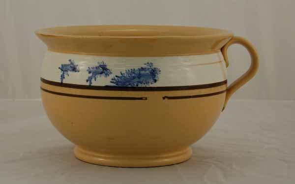 10: Yelloware chamber pot with mocha blue seaweed