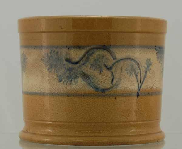 """13: Yelloware blue mocha seaweed banded 6 1/2"""" open top"""