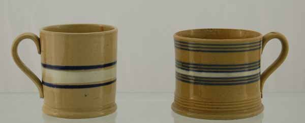 15: 2 Yelloware blue & white banded mugs (ca 1860-1900)