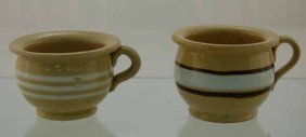 16: 2 Yelloware banded miniature chamber pots