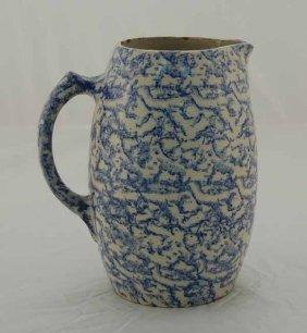 "18: Blue spongeware bulbous pitcher - 8 1/2"" tall"