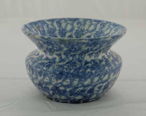 19: Blue spongeware cuspidor