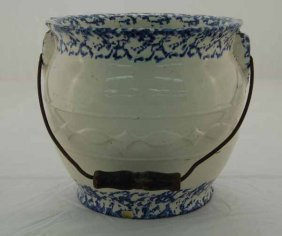 Blue Spongeware Slop Jar With Wire Vail Handle