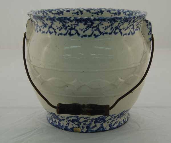 20: Blue spongeware slop jar with wire vail handle