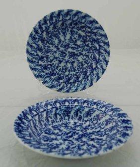 22: Pair of Dark Blue Spongeware Ironstone Bowls