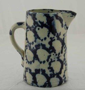 """23: Dark blue 9"""" spongeware pitcher"""
