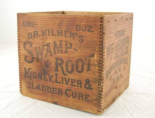 168: Dr. Kilmer's Swamp-Root Wooden Box Binghamton, NY