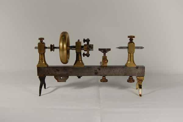 """Early Watchmaker's Brass & Steel Lathe - 9"""" long"""
