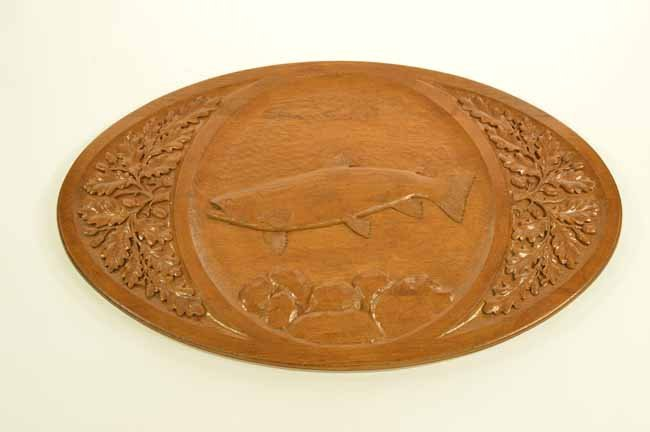 Oak Oval Carved Fish Plaque