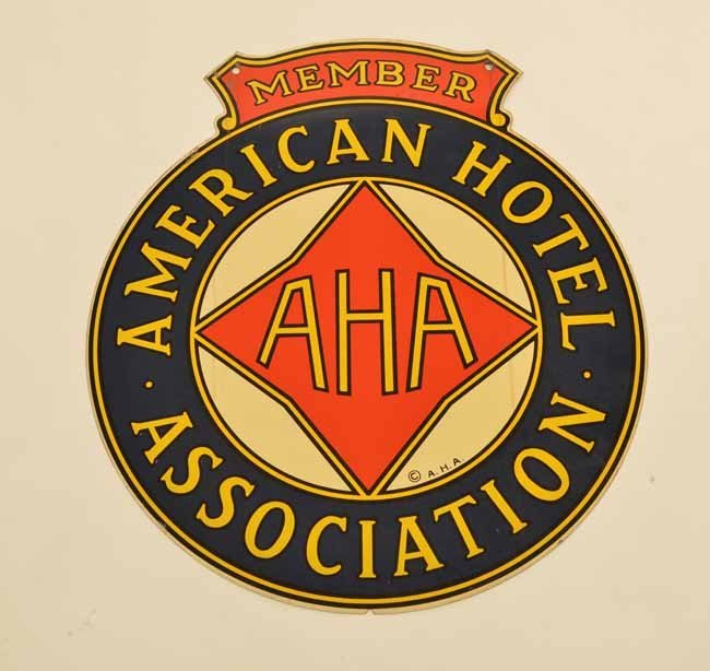 American Hotel Association Double Sided Tin Sign