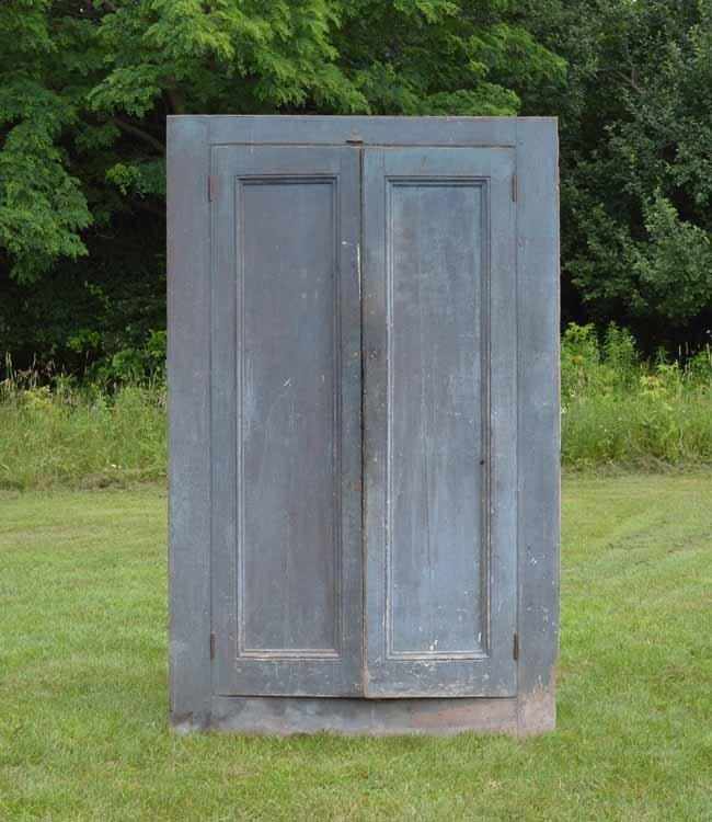 Blue Painted Country Two Door Corner Cupboard