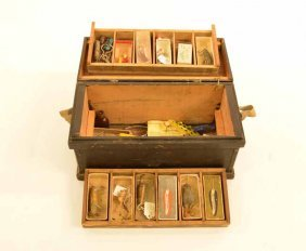 Early Wooden Tackle Box With Fishing Tackle