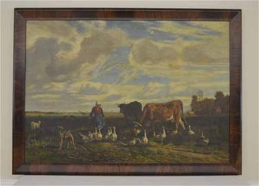 C.T. Troyon 1854 Oil on Canvas Painting