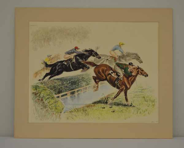 Artist Signed Horse Racing Lithograph