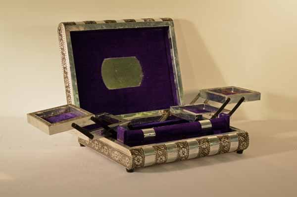 Pressed Tin Velvet Lined Book Style Jewelry Box