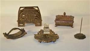 Five Piece Art Nouveau Desk Set