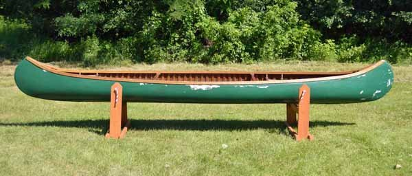 Green Old Town Wood Canvas Canoe - 2