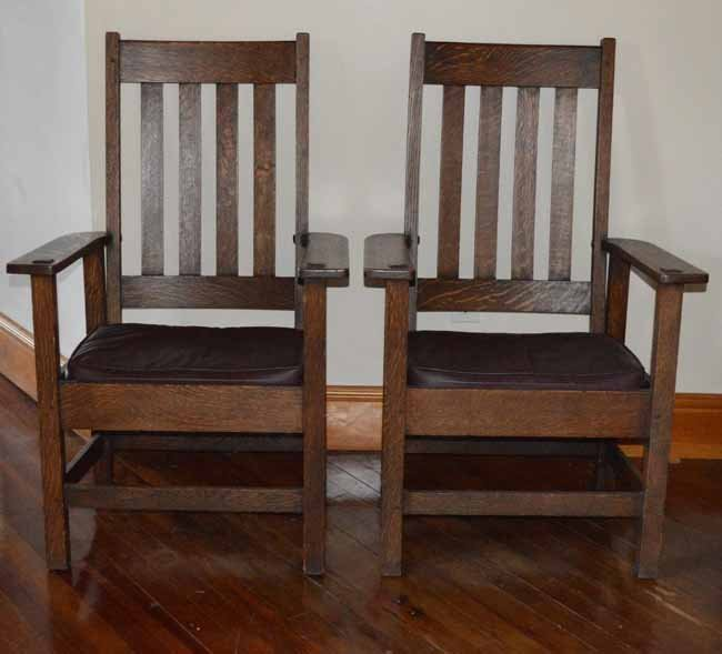 Pair of Stickley Brothers Mission Arm Chairs