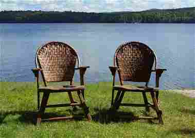 Pair of Old Hickory Hoop Back Arm Chairs