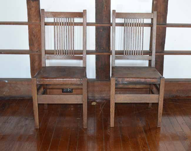 Pair of Gustav Stickley Spindle Back Chairs