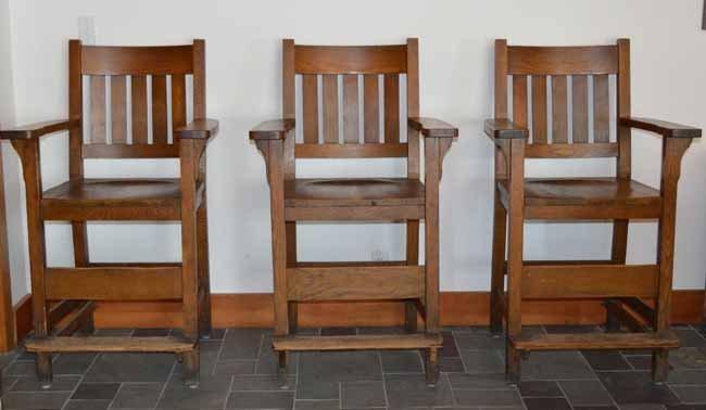 3 Heywood Bros & Wakefield Co Mission Billiard Chairs