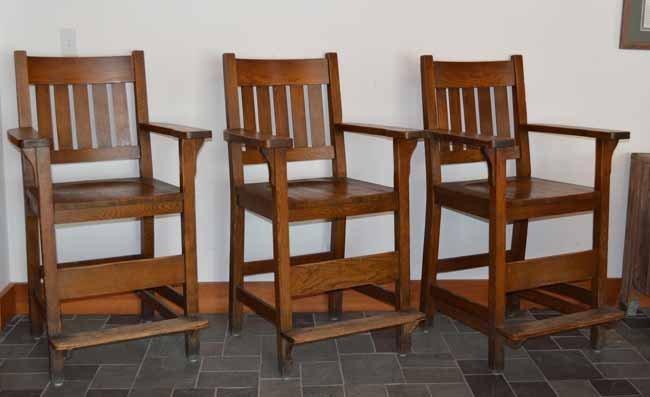 3 Heywood Bros & Wakefield Co Mission Billiard Chairs - 3