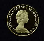 1980 Canadian 100 Gold Proof Coin  22kt