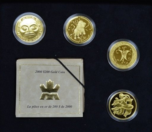 Four Canadian Gold $200 Coins (1997-2000)