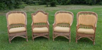 Four Natural Wicker Arm Chairs with Gold Cushions