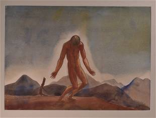 Rockwell Kent 1926 Watercolor of Nude Man