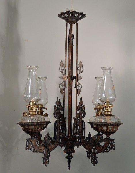 Hanging Adjustable Oil Lamp Chandelier