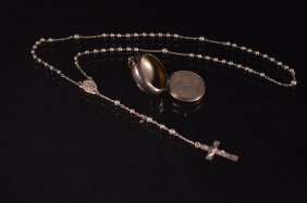 Sterling Silver Locket With Rosary And 2 Metals
