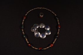 Sterling Silver Ring, Bracelet & Beaded Necklace