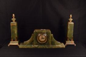 Green Marble Art Deco Three Piece Clock Set