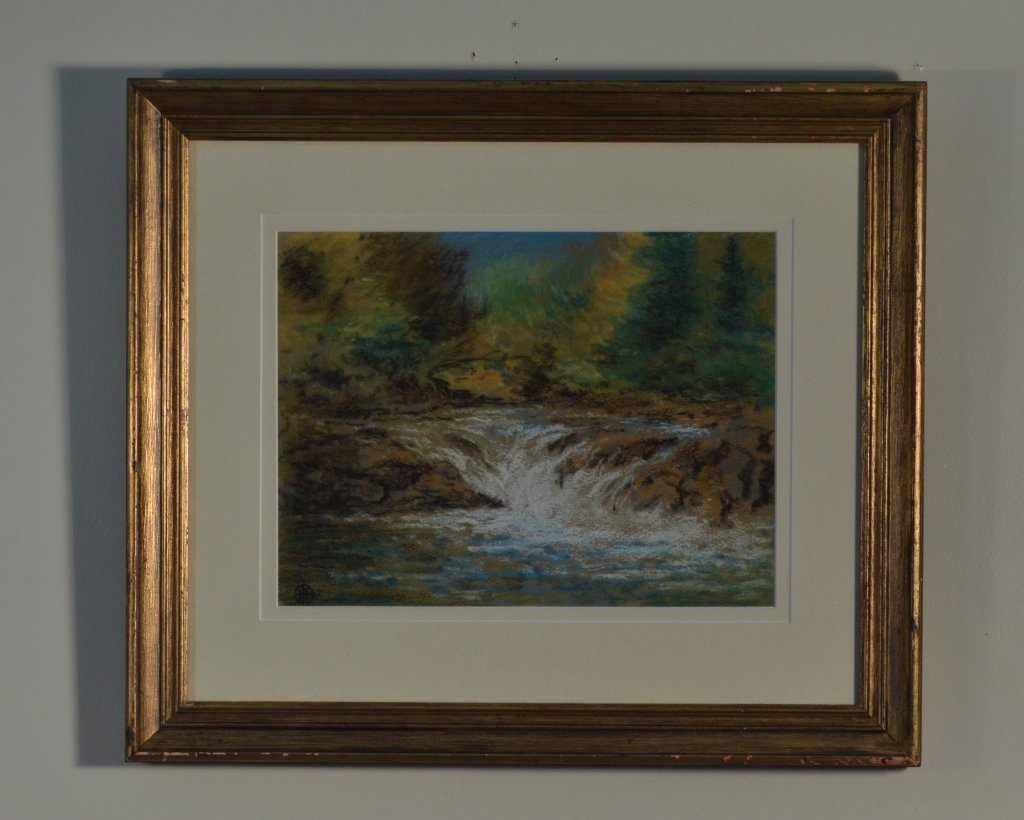 "Pastel Painting  the ""Upper Falls"" Raquette River"