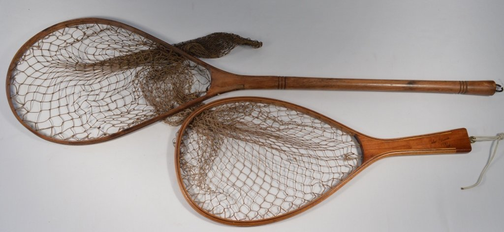 Two Wooden Handled Trout Fishing Nets