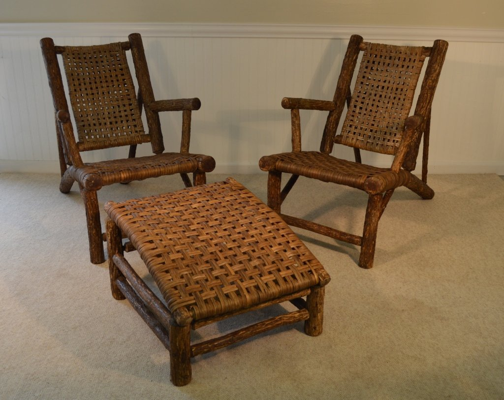Adirondack 3/4 Arm Lounge Chairs and a Foot Stool