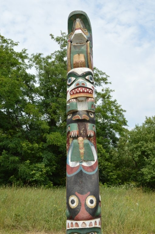 """North Pacific 1920's Totem Pole - 10'3"""" tall - 2"""