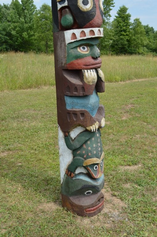 """North Pacific 1920's Totem Pole - 10'3"""" tall - 3"""