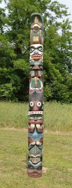 """North Pacific 1920's Totem Pole - 10'3"""" tall - 4"""